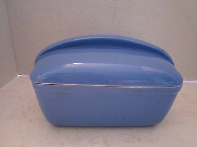 Vintage WESTINGHOUSE HALL CHINA Blue Porcelain Refrigerator Container w/Lid