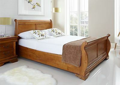 Louie Wooden Sleigh Bed - Oak Finish - Double Bed Frame Only