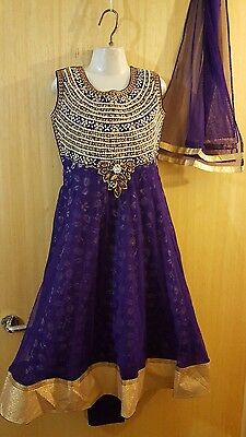 New Indian asian anarkali salwar kameez sharara kaftan purple size 28 for girls