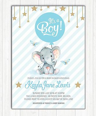 Elephant Baby Shower Invitation Blue Gold Boy Party Invite Twinkle Little Star