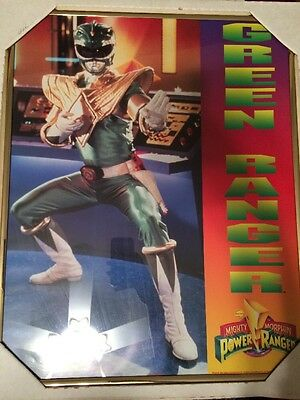 1994 Mighty Morphin Power Rangers Green Rangers Vintage Poster New Glass Frame
