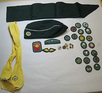 Vintage Girl Scout Sash, Badges, Patches, Hat, Scarf, Pins, etc.