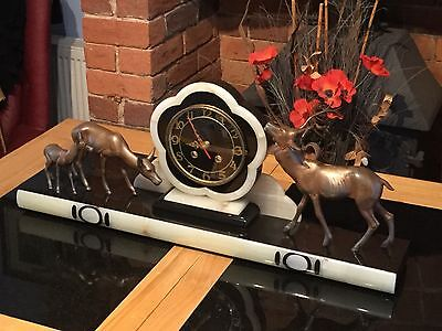 ART DECO MANTLE CLOCK WITH TWO DEER &stag Quartz movement is working