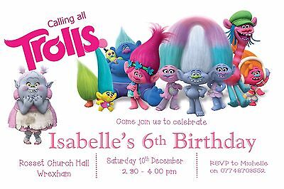 10 Personalised Childrens Trolls Birthday Party Invitations  or Thank you