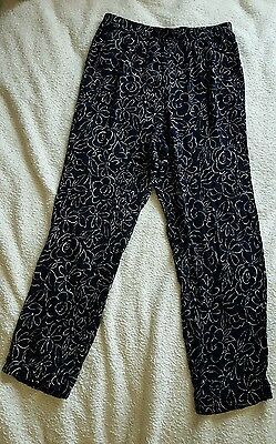 Vintage 90s fritzi rayon floral navy blue cropped pants xs sm grunge high waist