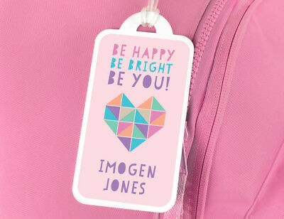 Be Happy Be Bright Be You Luggage Bag Tag - Personalised for Girls