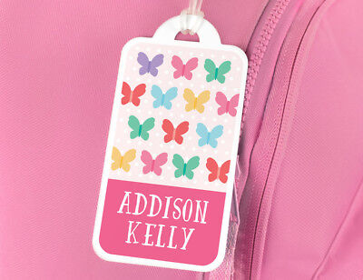 Bright Star Kids Personalised Name Tag for Luggage / School Book Bag - Butterfly
