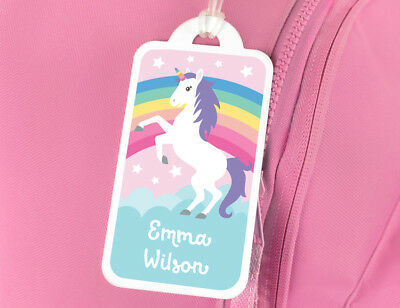 Bright Star Kids Personalised Name Tag for Luggage or Bag - Unicorn and Rainbow