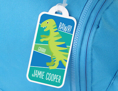 Bright Star Kids Personalised Name Tag for School Book Bag - Green Dinosaur
