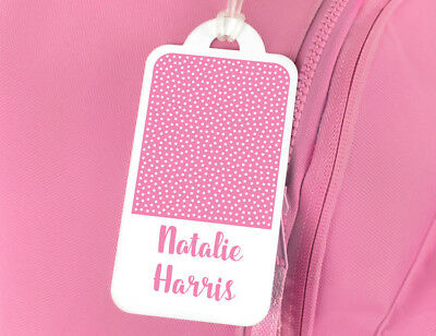 Bright Star Kids Personalised Name Tag for Luggage / School Book Bag - Polka Dot