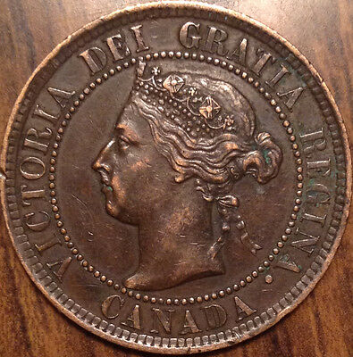 1894 Canada Large Cent Keydate Penny In Almost Uncirculated !