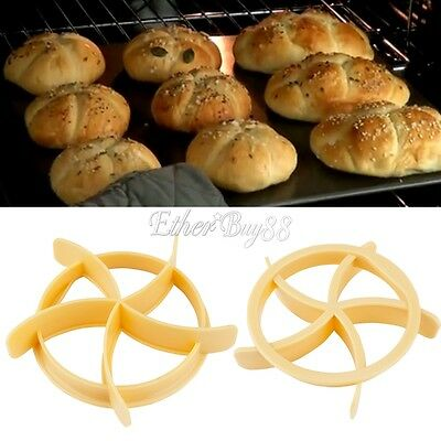 New DIY Kaiser Roll Maker Mold Cake Bread Seal Cutter Tools for Kitchen Baking