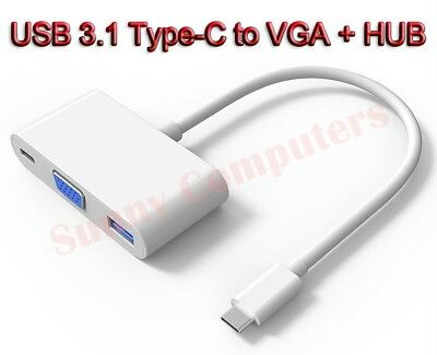 USB 3.1 Type-C to VGA USB 3.0 3.1 USB-C HD 3IN1 HUB Charging Port Adapter Cable