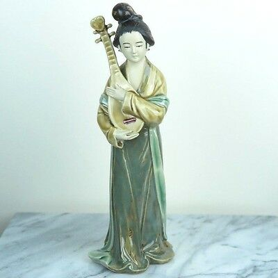 """Chinese Traditional Lady Beauty Plays Pipa Instrument Porcelain Figurine 9""""H"""
