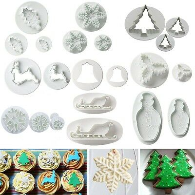 Fondant Cake Decorating Icing Gum Paste Plunger Cutter Tool Mold Christmas Decor