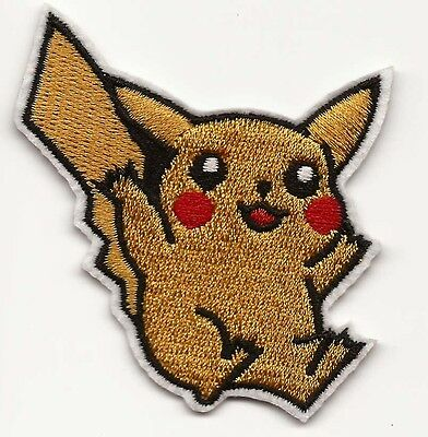 Pikachu Pokemon Embroidered Patch Iron-on Good Luck 6cm