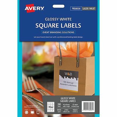 Avery Glossy Square Labels 45 x 45mm White 200 Pack
