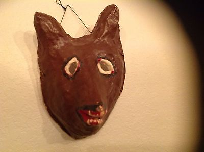 Amazing Vintage Halloween 1920-30's Paper Mache Mask Must See Wow!