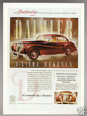 1951 Daimler 3L Regency Car Artwork Vintage Ad Reprint Modern Postcard