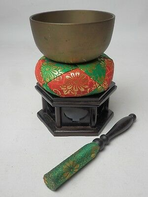 "BB3 JAPANESE VTG W:9cm/3.5"" BUDDHIST BELL ORIN SET SINGING BOWL FREE SHIPPING"