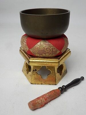 "BB6 JAPANESE VTG W:8.5cm/3.3"" BUDDHIST BELL ORIN SET SINGING BOWL FREE SHIPPING"