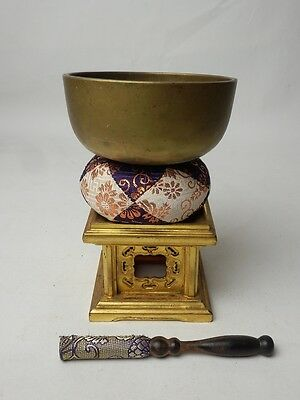 "BB23 JAPANESE VTG W:11cm/4.3"" BUDDHIST BELL ORIN SET SINGING BOWL FREE SHIPPING"