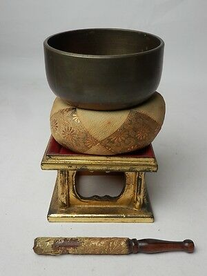 "BB29 JAPANESE VTG W:10.8cm4.3"" BUDDHIST BELL ORIN SET SINGING BOWL FREE SHIPPING"
