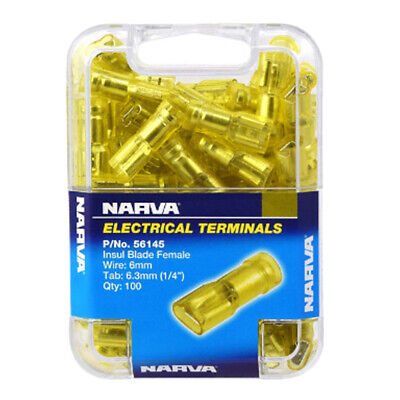 NARVA BLADE TERMINALS FEMALE INSULATED - WIRE 5-6mm TAB 6.3mm YELLOW (100 PACK)