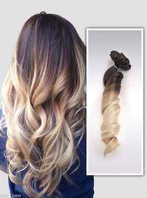 Long Straight Curly Wavy Ombre Clip in Hair Extensions Hairpieces, BROWN BLONDE