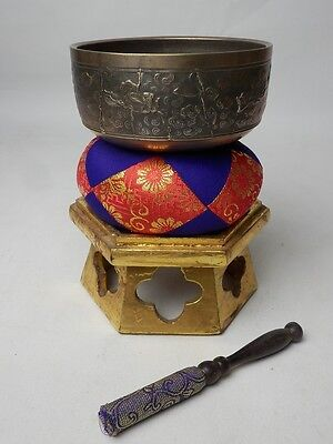"BB35 JAPANESE VTG W:12cm/4.7"" BUDDHIST BELL ORIN SET SINGING BOWL FREE SHIPPING"