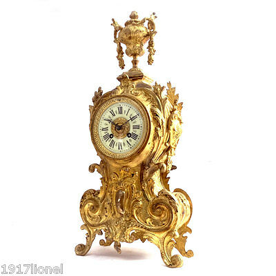 French Antique - GILT BRONZE BAROQUE MANTLE STRIKING CLOCK c1880