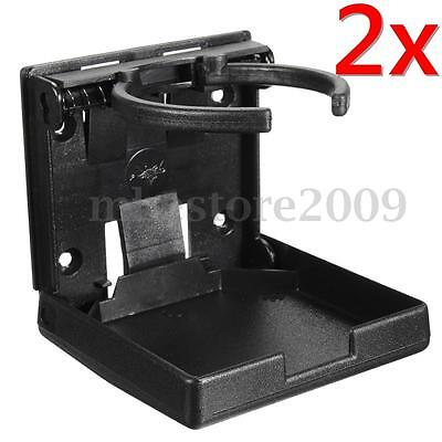 2x Black Folding Drink Cup Can Bottle Holder Mount Stand For Boat/Marine/Car/RV