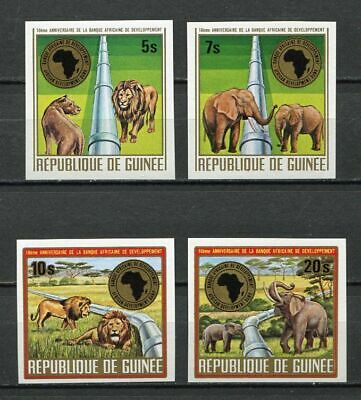 27532) GUINEA 1975 MNH** Nuovi** African Bank, Pipe Line, Animals  imperf. 4v