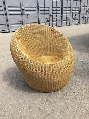 vintage chair retro 1960s 1950s wicker Rattan Chair attributed Isamu KENMOCHI