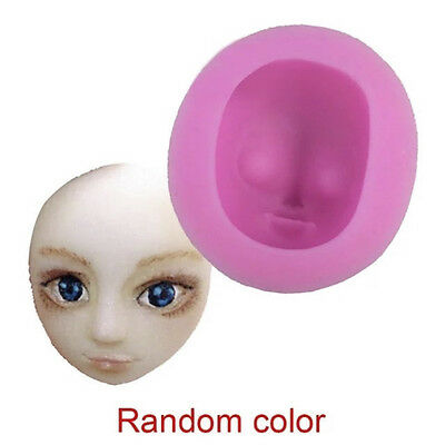 DIY 3D Girl  Face Silicone Fondant  Mould Cake Icing Sugarpaste Doll Head Mold