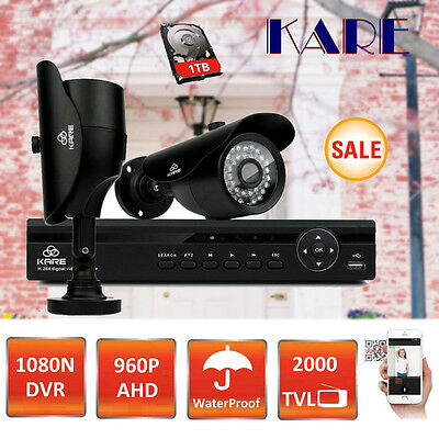 KARE Smart 4CH 1080N AHD DVR 960p CCTV Outdoor Home Security Camera System Kit