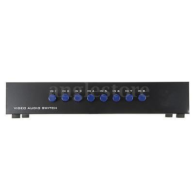 8 en 1 Out Port Splitter Composite 3RCA AV Video Audio Commutateur Sélecteur Box