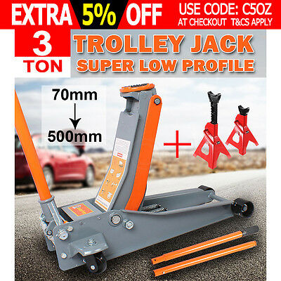 3TON Super Low Profile Hydraulic Car Trolley Floor Jack 2x Adjustable Jack Stand