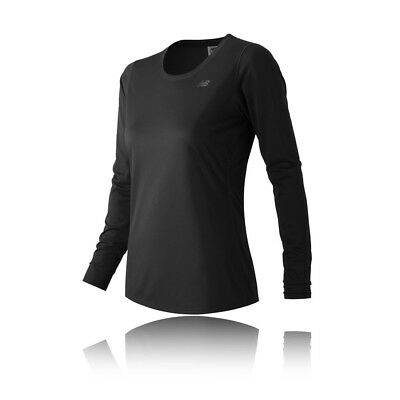 New Balance Accelerate Womens Black Long Sleeve Scoop Neck Running Sports Top