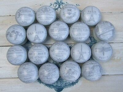 Grey Vintage Paris French Adverts  'shabby Chic' Cupboard/drawer Knobs