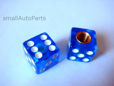 (2) Clear Blue Dice Old School BMX Tire Stem Valve Caps Covers
