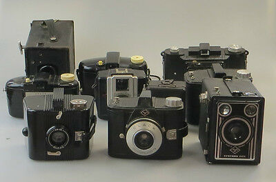 Lot 10x Box: 4x Agfa, Zeiss Ikon, 3x Kodak, Super Vier, Ultra Fex -Bakelit jk011
