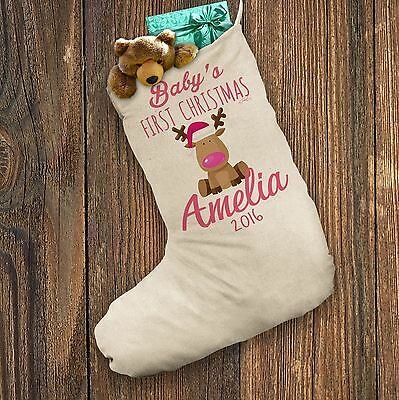 Personalised Christmas Stocking Pink Baby's First Christmas White