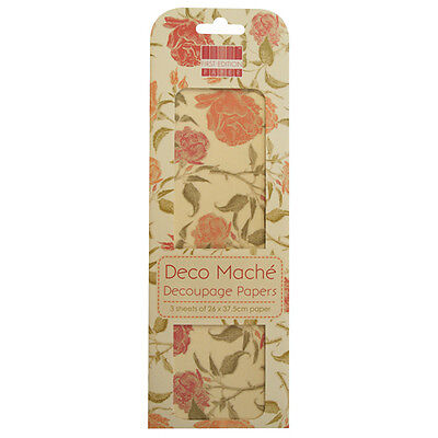 3 Sheets Of Decoupage / Deco Mache Paper First Edition English Rose