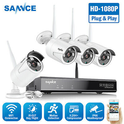 SANNCE 1080P Wireless WIFI Network 4CH NVR In/Outdoor Security IP Camera System