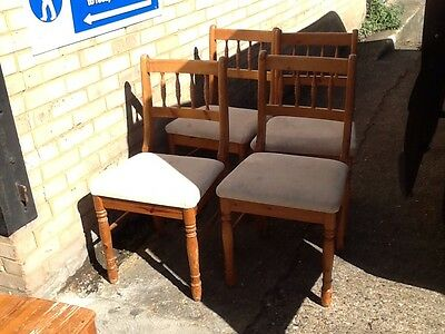 1 x set(4) beige upholstered pine dining chairs