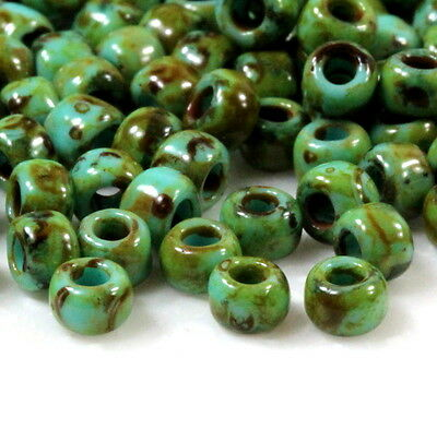 TOHO Seed Beads, Size 6/0, Hybrid Green Turquoise w Picasso Finish, 10 Grams