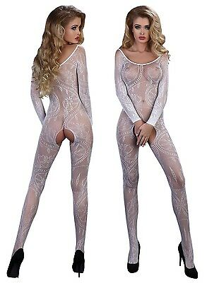 Bodystocking weiß langarm S/M/L LivCo Corsetti Netz Catsuit floral Muster ouvert