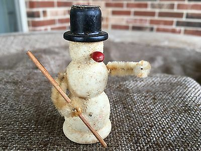 Vintage Putz Composition Snowman,Wood Hat and Nose, Mica Glitter,Chenille Figure