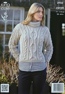 KNITTING PATTERN Womens/Girls Roll Neck Cable Jumper Aran King Cole 3956